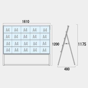 不動産向けカードケースA型看板 ハイタイプ 仕様:A4横20 片面 (CCSK-A4Y20KH)