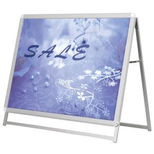 A型看板 グリップA シルバー サイズ:A0 片面ヨコ ロータイプ(H1m以下) (52667A0L)